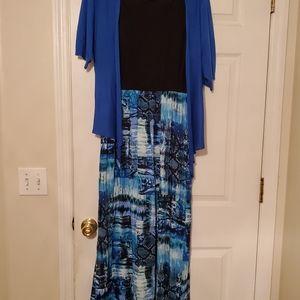 Long blue and black dress